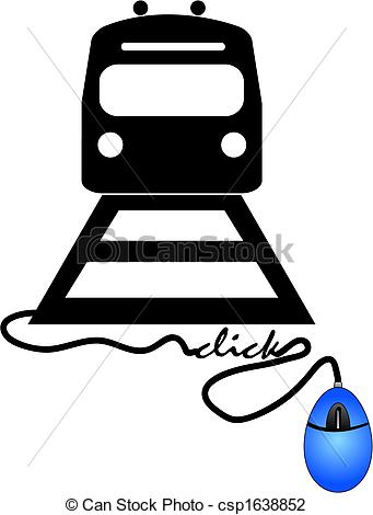 Vector Illustration of buying train ticket online.