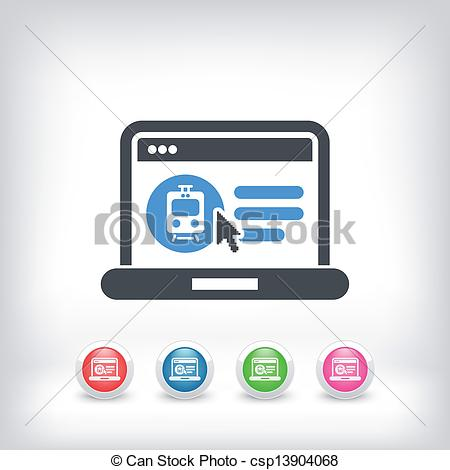 Vector Clipart of Booking train ticket on internet.