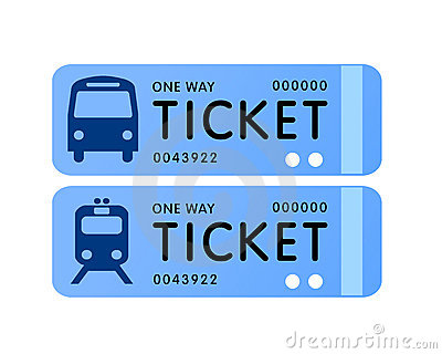 Bus And Train Ticket Vector Stock Photo.