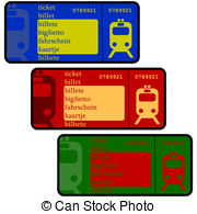 Clipart Vector of Vector train tickets..