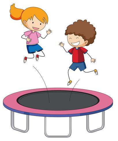 Children jumping on trampoline.
