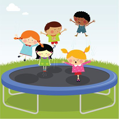 Image result for kids jumping on trampoline clipart.