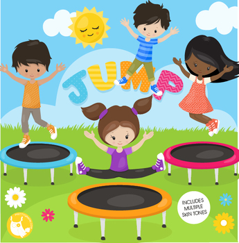 Trampoline kids clipart commercial use, vector graphics.