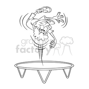 kid jumping on a trampoline black and white clipart. Royalty.