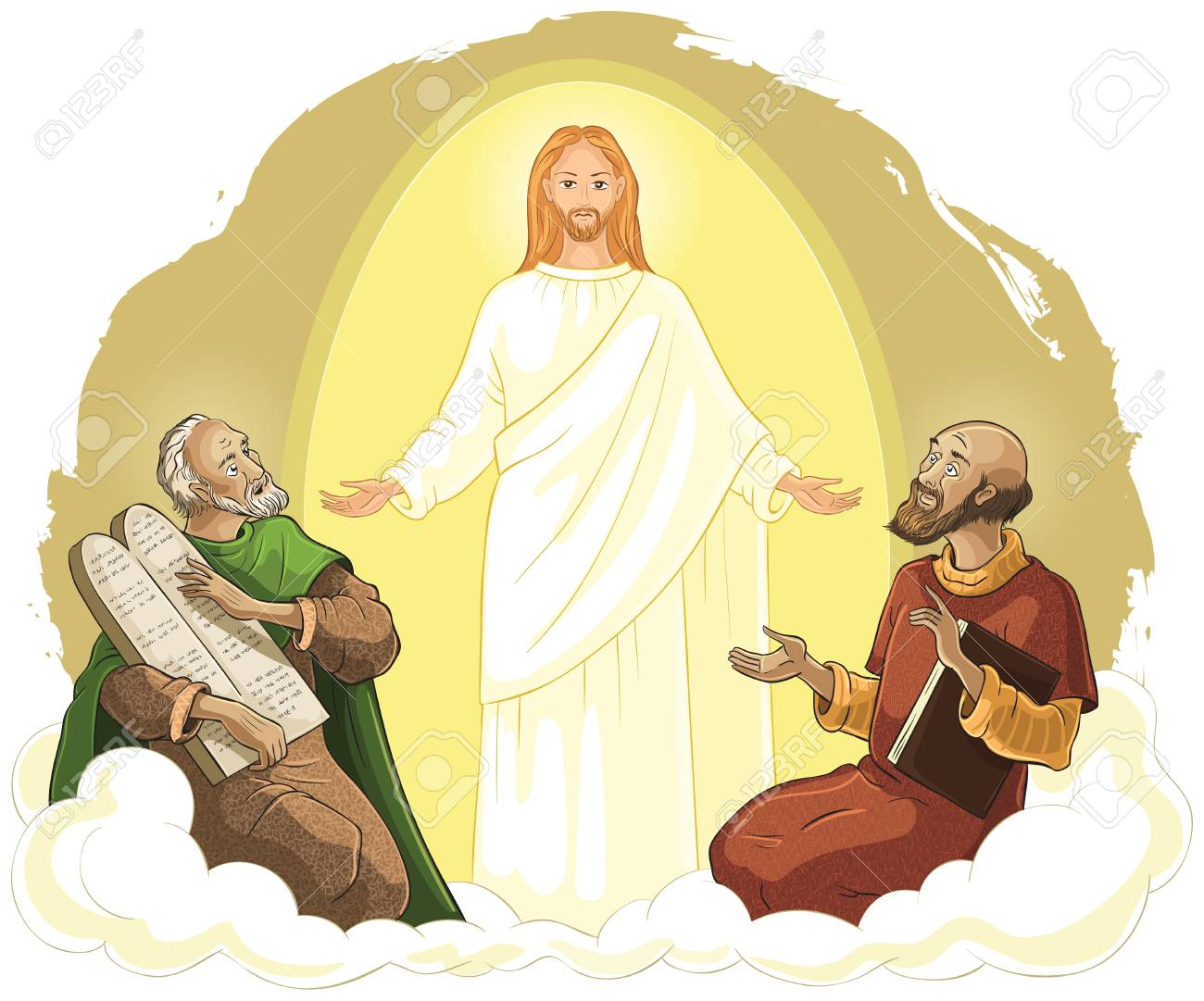 Transfiguration of Jesus Christ with Elijah and Moses. Vector...