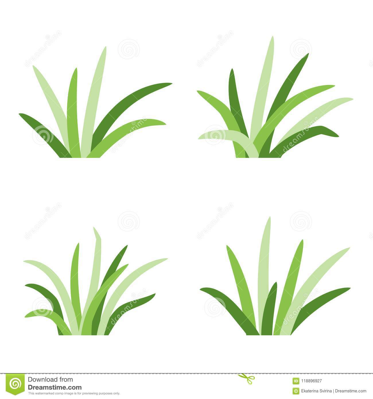 Set Of Grass Tufts, Clip Art, Transparent Backdrop Stock Vector.