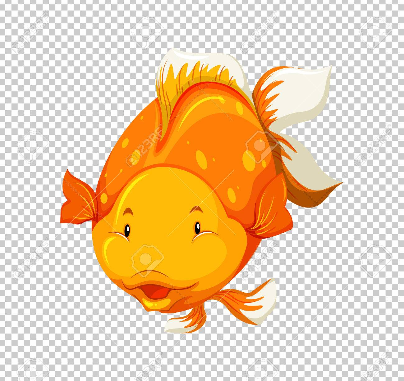 Cute goldfish swimming on transparent background illustration.