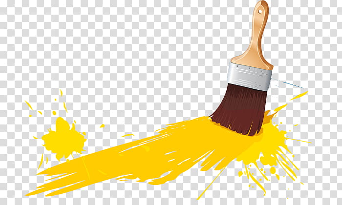 Paintbrush with yellow paint transparent background PNG.