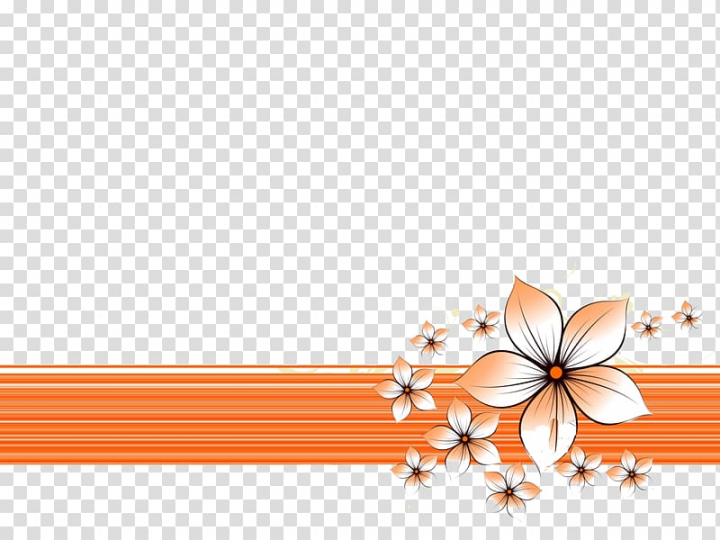 Orange flowers art, Microsoft PowerPoint Desktop Slide show.