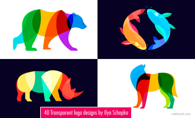 40 Transparent and Blend mode Logo designs by Ilya Schapko.