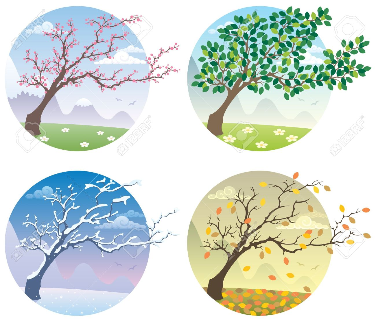 Cartoon Illustration Of A Tree During The Four Seasons. No.