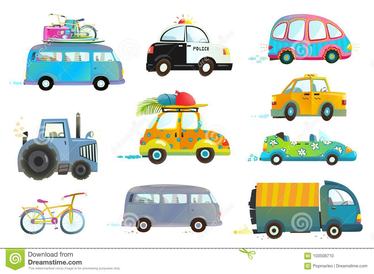 Car Bus Taxi Police Truck Bicycle Clipart Stock Vector.