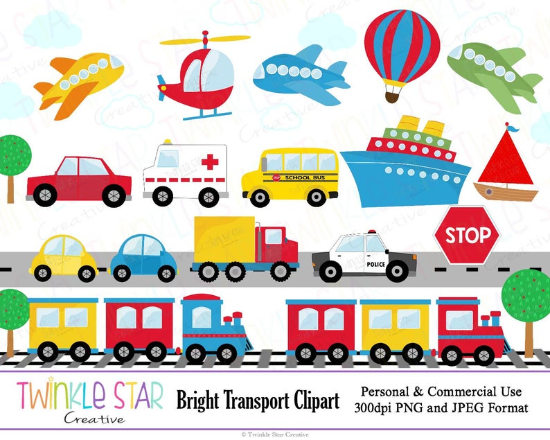 INSTANT DOWNLOAD, Transport Clipart, Transportation Digital Clip Art, Car,  Train, Plane, Graphic, Image, PNG, Personal & Commercial Use.