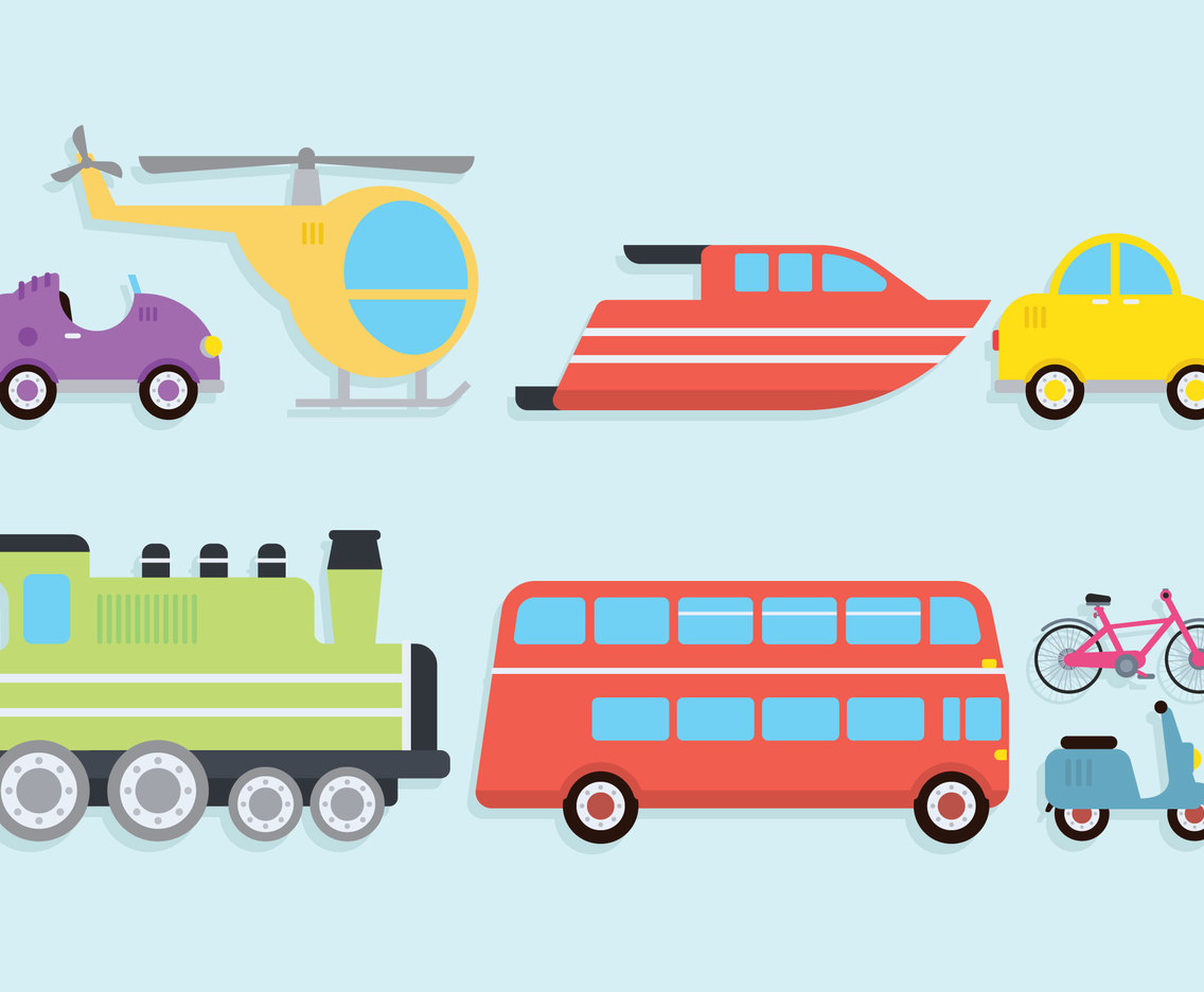 Transportation Clipart Set Vector Art & Graphics.