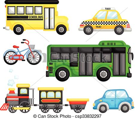 Land Transportation Vector Set.