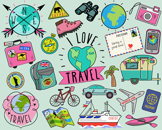 Travel Clipart, summer clipart, bullet journal stickers, travel clip.