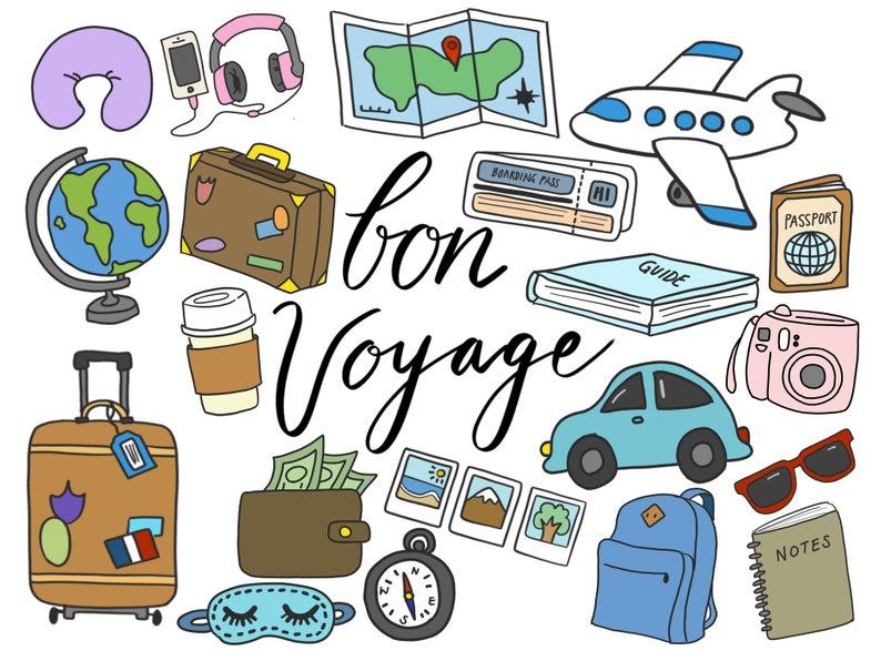 TRAVEL CLIPART, clip art, travel, cute, doodles, vector clipart, airplane  clipart, doodle clipart, hand.