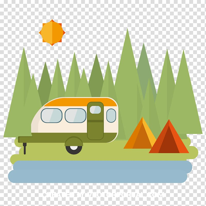 Orange, white, and green travel trailer, Camping Tent.