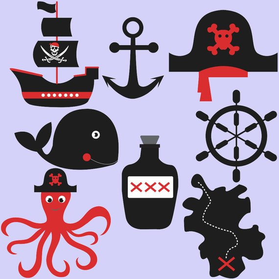 Pirates clipart, pirate clip art, sailing ship, skull.