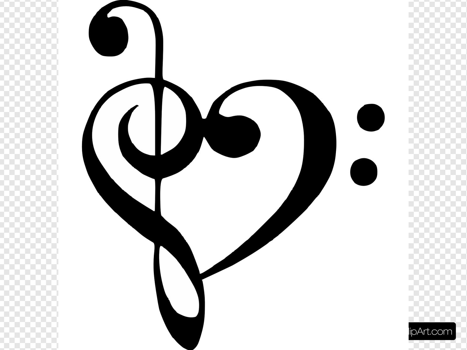 Bass Clef Treble Clef Heart Clip art, Icon and SVG.