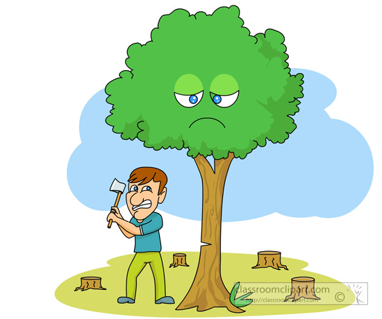 Man Cutting Tree Clipart.
