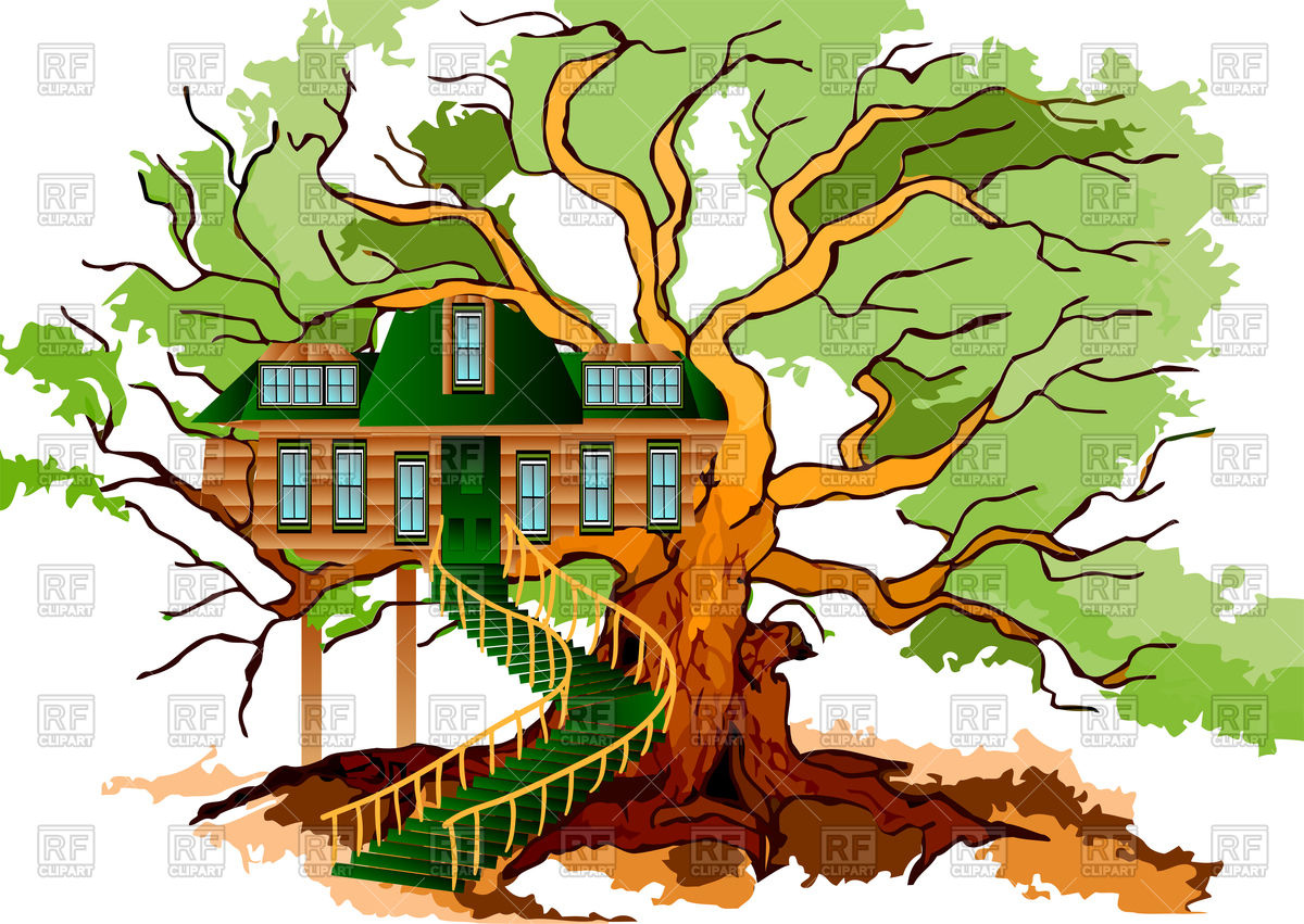 Tree house on oak Vector Image #77671.
