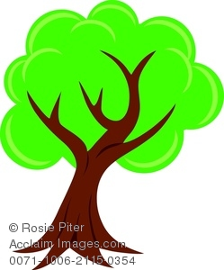 Clipart of a Leaning Tree With Green Leaves.