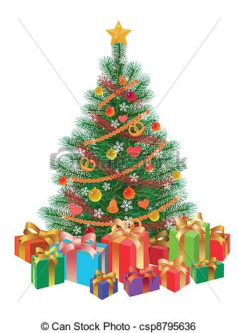 Free Clipart Christmas Tree With Presents.