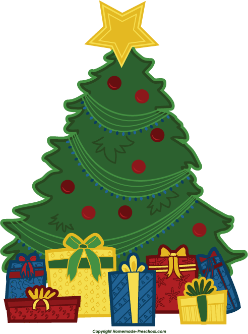 Christmas Tree With Presents Clipart.