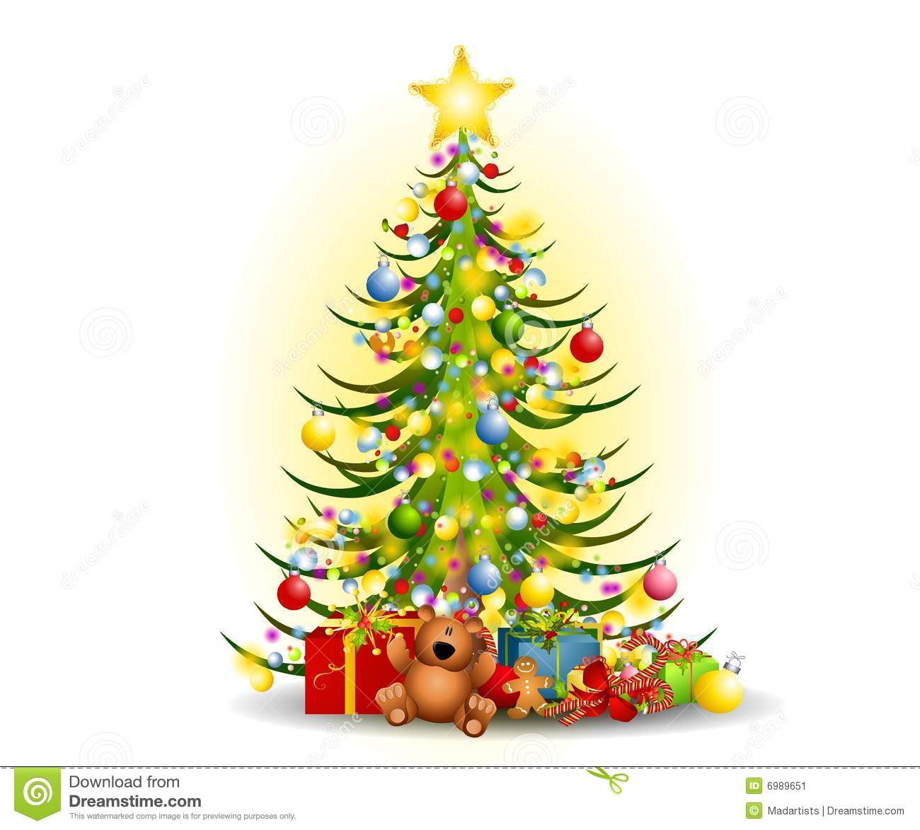 Clipart christmas tree with gifts.