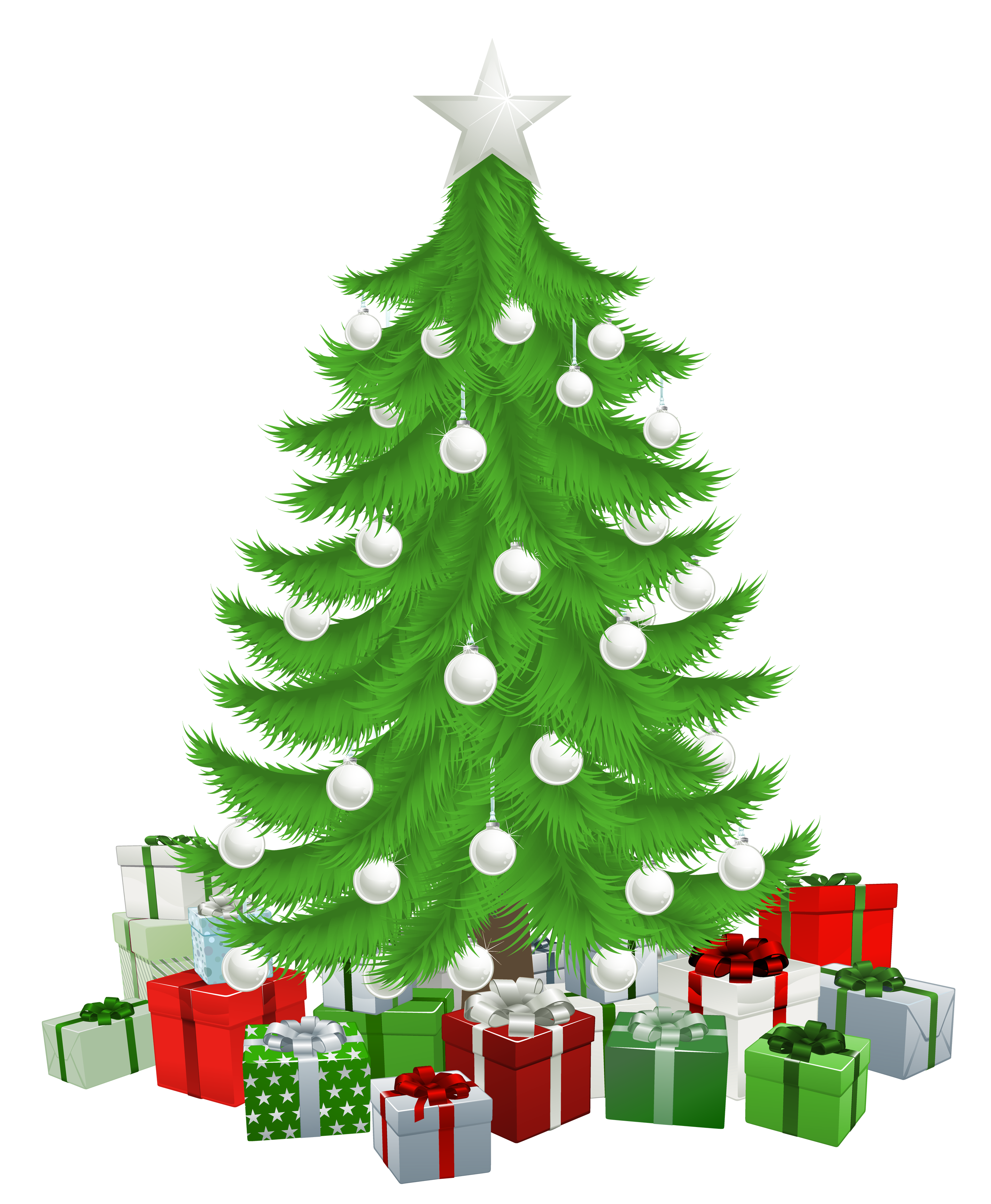 Transparent Christmas Tree with Presents Clipart Picture.
