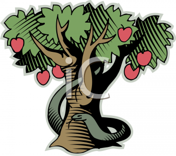 Showing post & media for Cartoon apple tree with snake.