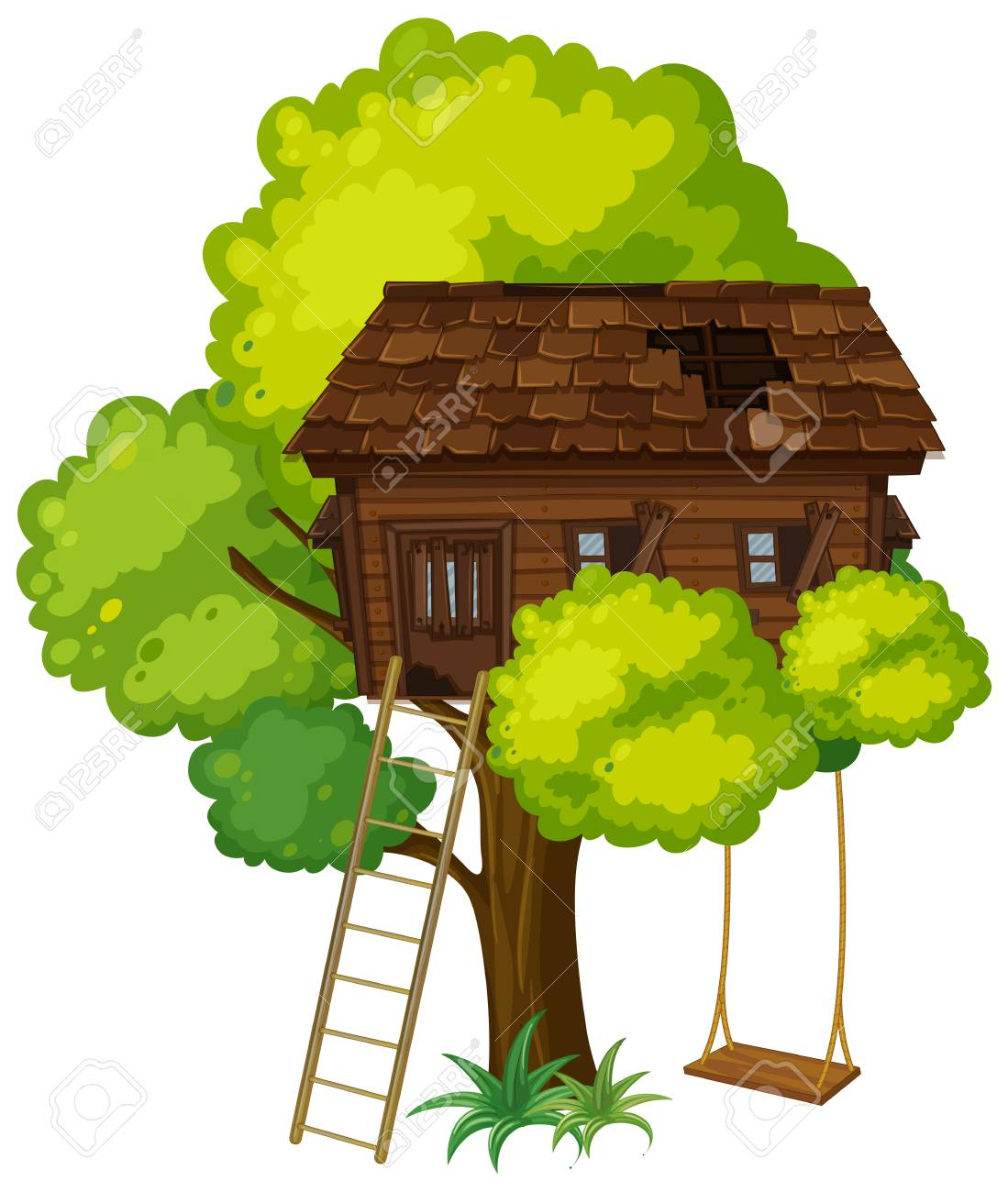 Treehouse with swing on the tree illustration.