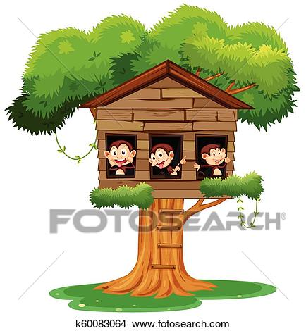 Monkey playing at treehouse Clipart.