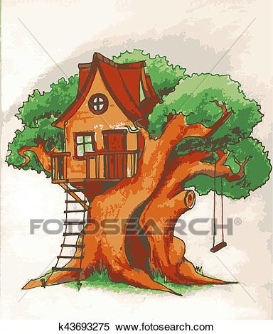 Tree house. House on tree for kids. Children playground with terrace, swing  and ladder illustration Clipart.
