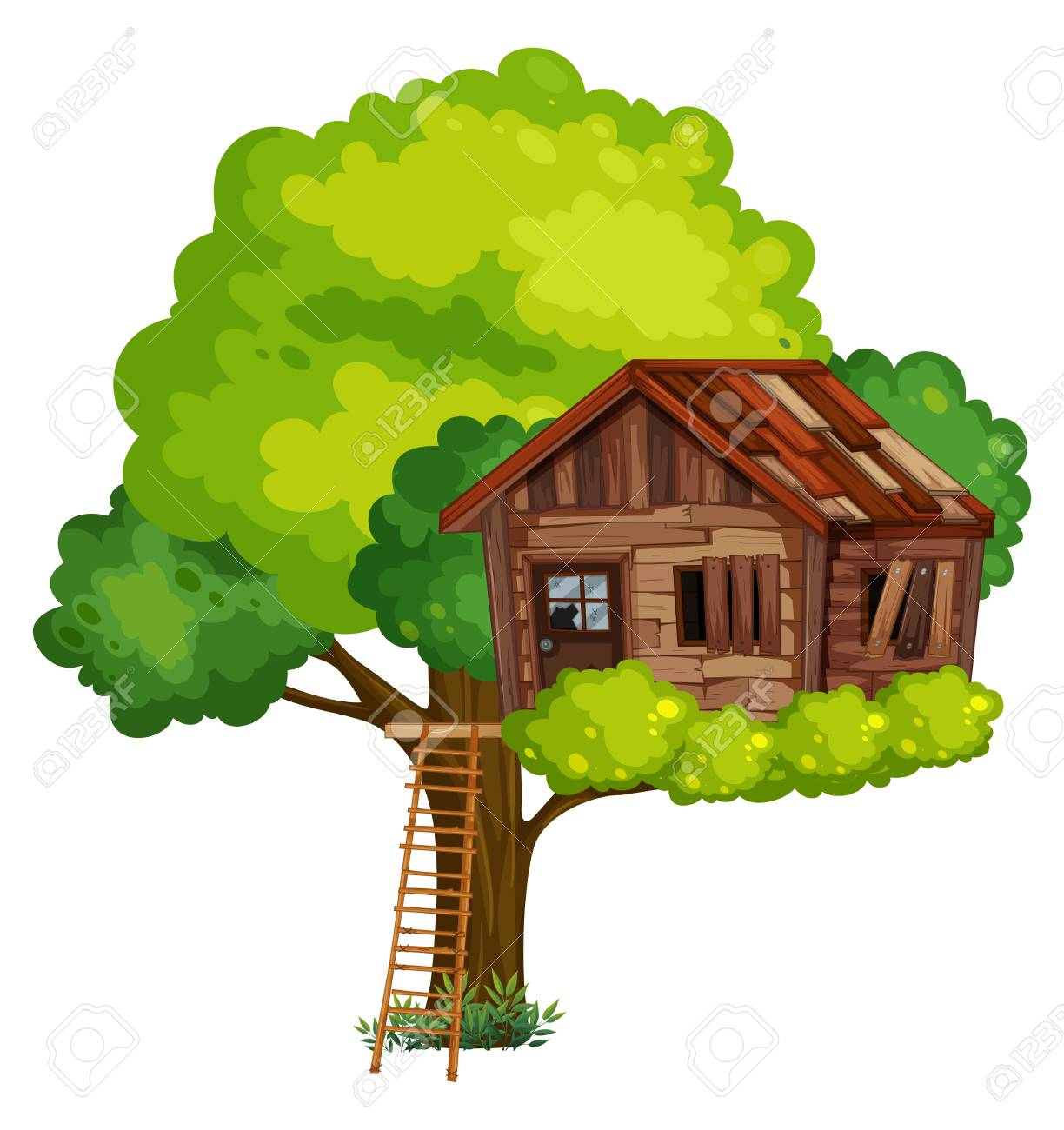Old treehouse made of wood illustration.