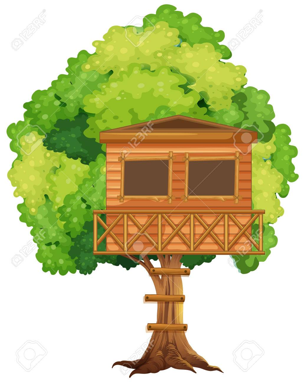 One treehouse in the tree illustration.
