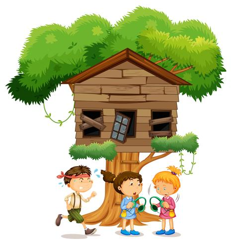 Kids playing infront of the treehouse.
