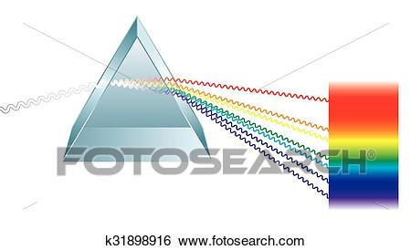 Triangular Prism Breaks Light Into Clip Art.