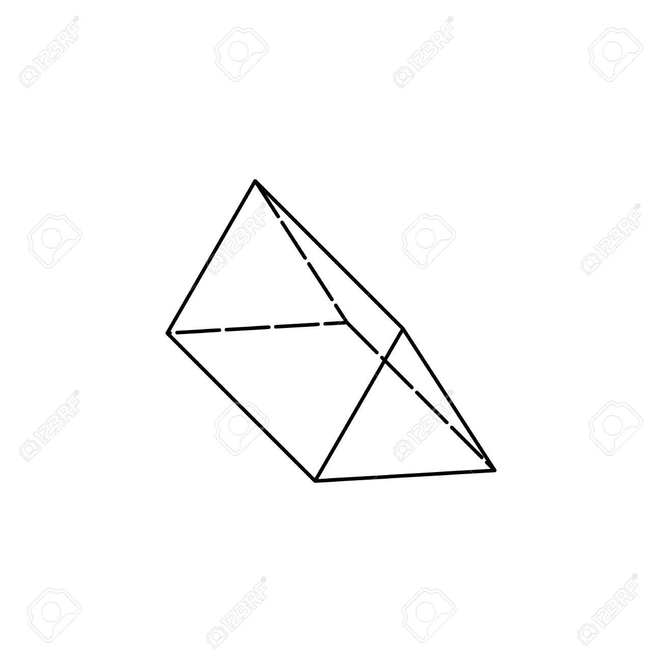 Triangular prism icon, geometric figure element for mobile concept...