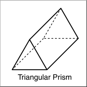 Clip Art: 3D Solids: Triangular Prism B&W Labeled I abcteach.com.