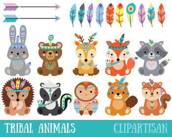 Tribal Woodland Animal Clip Art, Forest Animals.