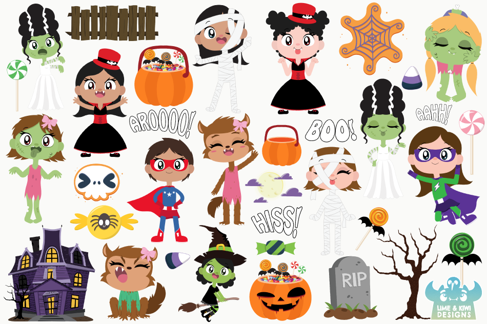 Halloween Trick Or Treaters Girls Clipart, Instant Download.