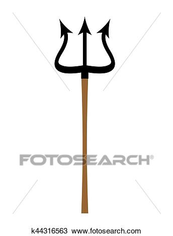 Trident isolated. Weapon of Satan and devil. Spear Poseidon Clipart.