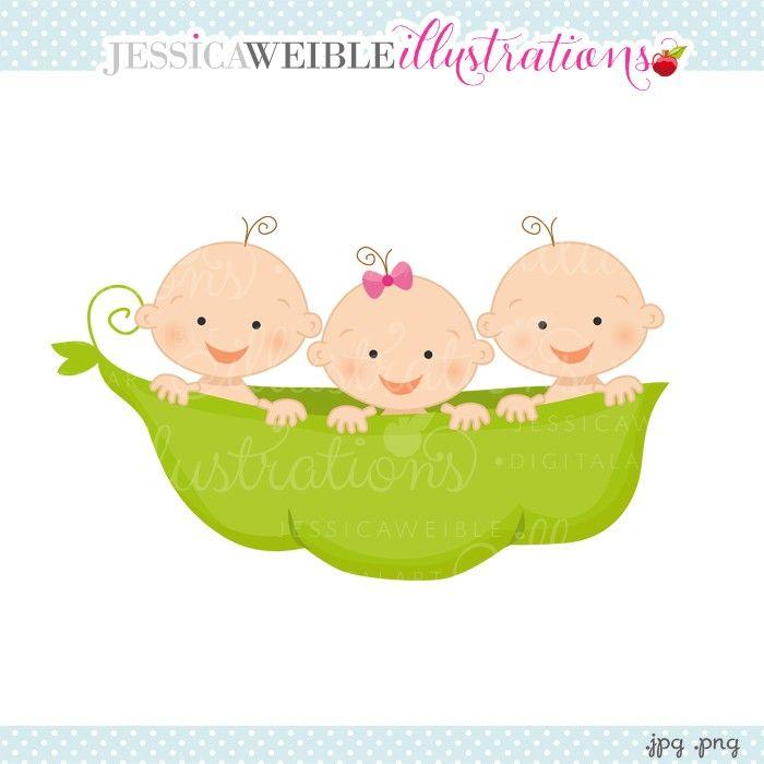 Pea Pod Triplets 2 Boys 1 Girl Clipart.
