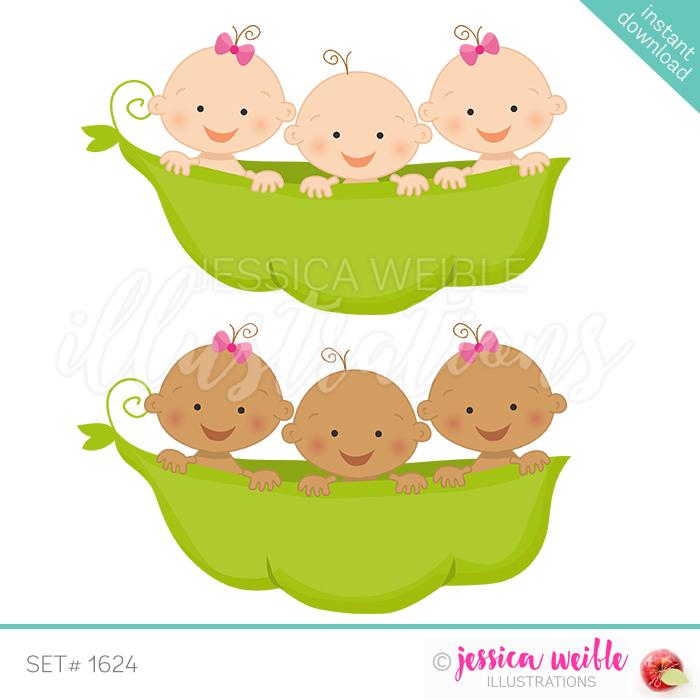 Triplets in Peapod 2 Girls 1 Boy.