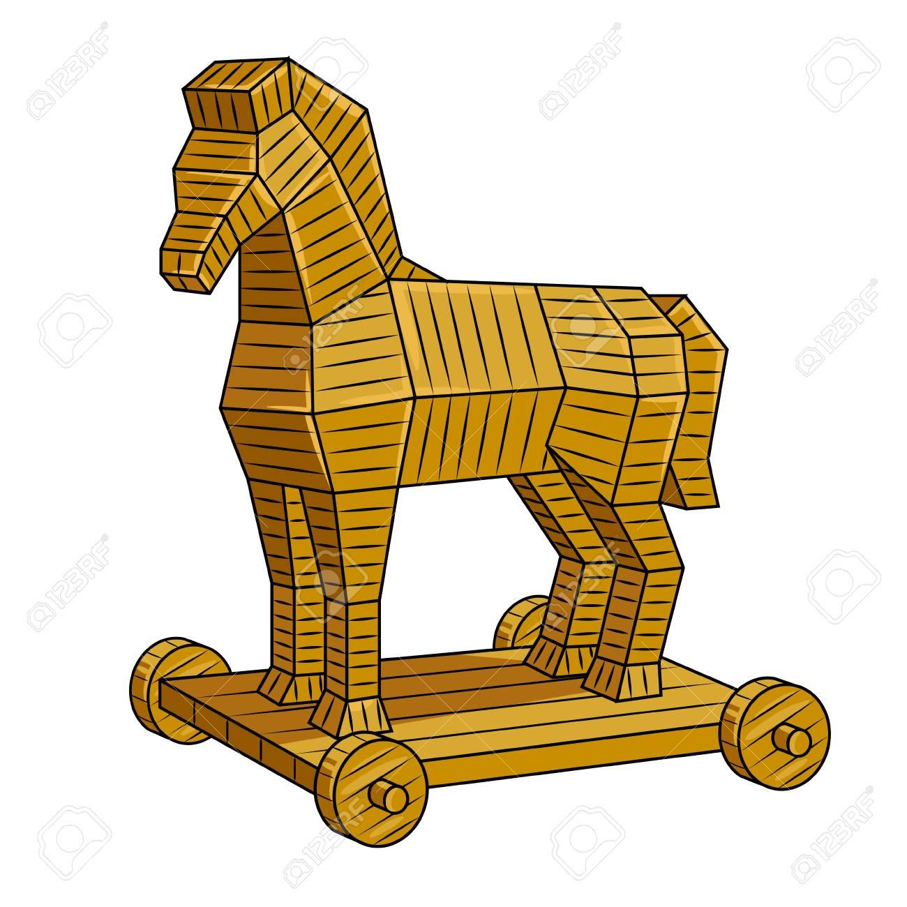Trojan horse pop art vector illustration.