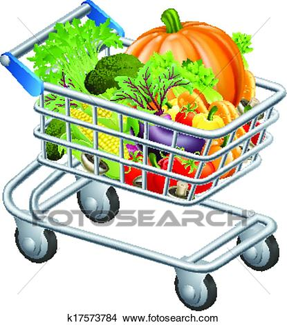 Vegetable trolley Clipart.