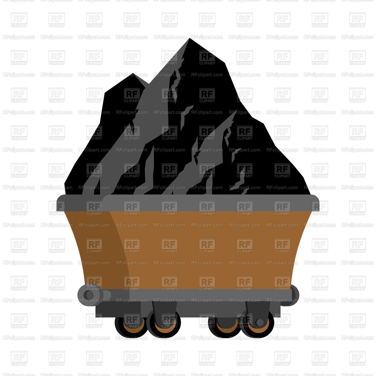 Trolley of coal isolated Stock Vector Image.