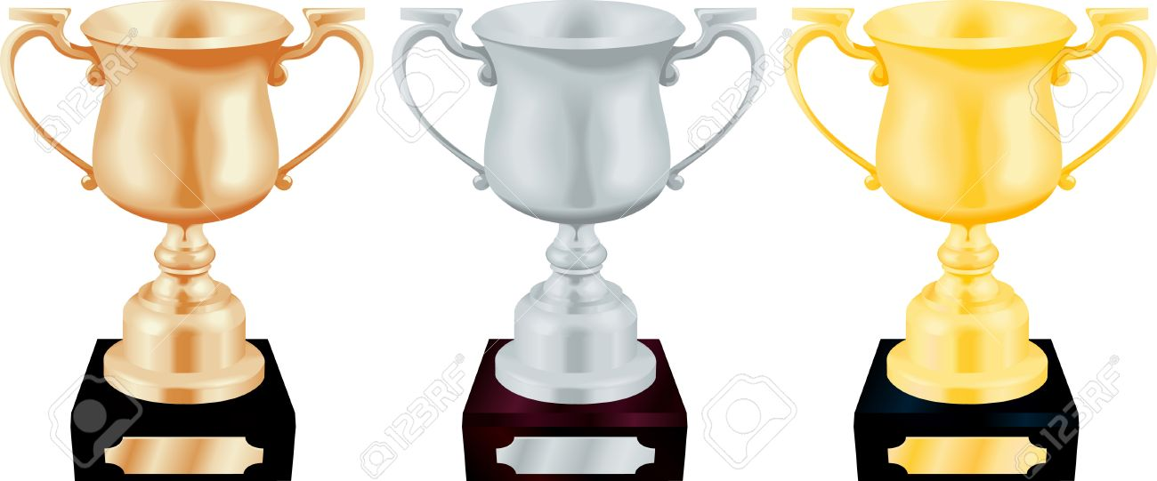 Vector illustration of gold silver and bronze trophy cup.